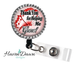 Personalized Teacher Gift- Thank you for helping me grow, End of year Teacher gift, Teachers Aide, Babysitter