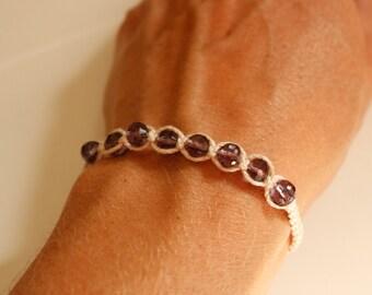 Skinny yoga bracelet, small knotted bracelet, crystal friendship bracelet, stack bead bracelet, everyday jewelry