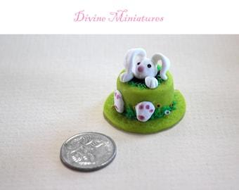 Easter Bunny Cake 1:12 Scale Dollhouse Miniature, Green Cake