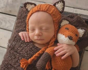 Fox Bonnet with Matching Toy Photography Prop - Original Design - Handmade - Crochet Fox - Animal Set - Newborn - Woodland Animal