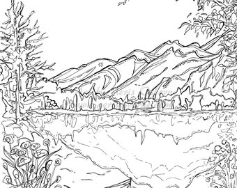 Serenity Jasper Landscape Printable Coloring Page, Canoe Mountain Jasper Lake, Instant Download, Original Ink Pen Drawing by Aeris Osborne