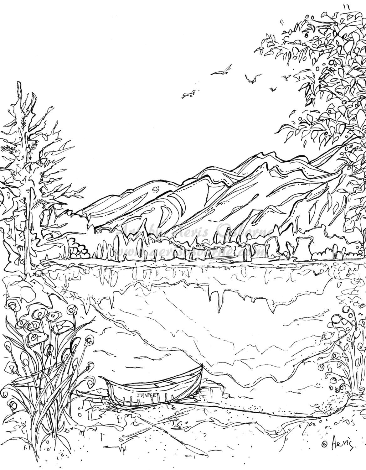 Landscape Coloring Pages Serenity Jasper Landscape Printable Coloring Page Canoe