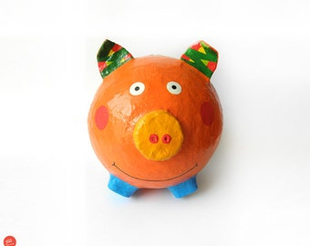 Orange Pig Money Box, Piggy Bank For Girls, Paper Mache Piggy Bank, Kids Money Box, Colorful Piggy Bank, Kids Room Decor, Paper Art Animal