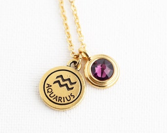 Personalized Zodiac - Birthstone Necklace - Zodiac Sign Birthday Gift - Astrology - Gold Zodiac Pendant Necklace-Personalized Zodiac Jewelry