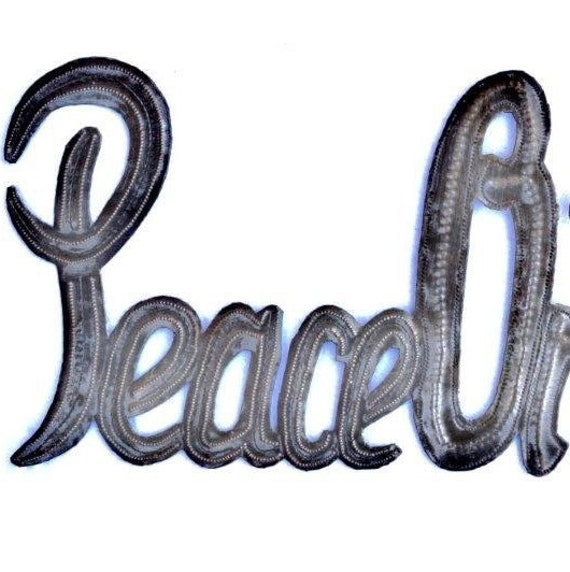 "Peace on Earth, Christmas, Recycled Steel, Haiti Metal Wall Art 20"" x 8"""