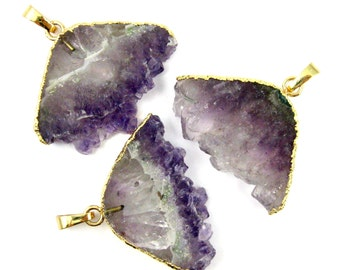 Natural Amethyst Mountain Peek Pendant with Gold Plated Edges-February Birthstone Geode Pendant for Necklace-Wholesale Jewelry SKU: 292037