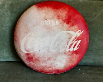 Well-Worn Vintage 1950s Coca-Cola Metal Button Sign