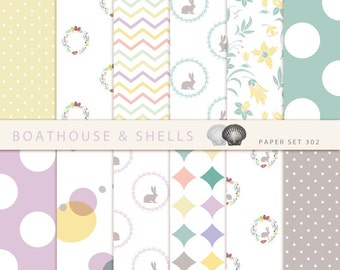 EASTER Scrapbooking digital paper - 12 papers for Easter with chevron/wreath/bunnies/flowers/dots - design, download - printable - 303