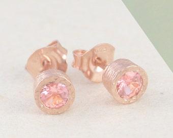 Pink Tourmaline Earrings, Gemstone Earrings, Stud Earrings, Tourmaline Studs, Rose Gold Earrings, Rose Gold Studs, Pink Stone Earrings