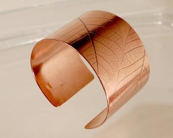 Copper Leaf Cuff Bangle