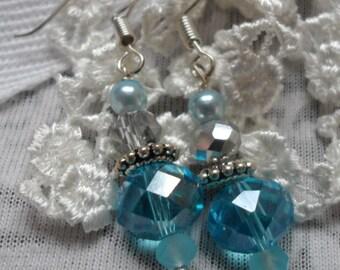 Aqua Crystal Drop earrings.