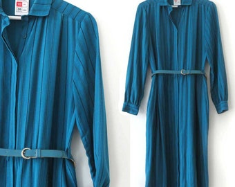 Blue Striped Vintage St Michael Shirt Dress with Belt and Pockets. Long Sleeve Dress, Small. Marks & Spencer UK. Womens Long dress XS/S