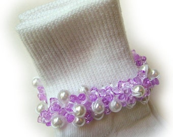 Kathy's Beaded Socks - Lavender and Pearly socks, girls socks, dressy socks, baby socks, toddler socks, school socks