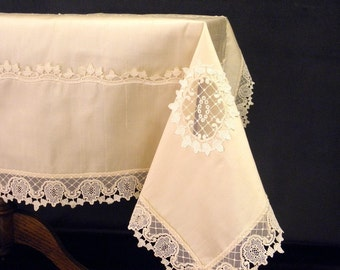Tablecloth Opulent, off white Silk  luxurious ecru lace border, superior in quality: F-7