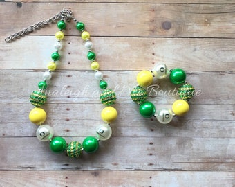 Oregon Ducks Chunky Necklace, Oregon Chunky Necklace, Toddler Ducks Necklace, Toddler Oregon Necklace, Oregon Ducks, Oregon Necklace