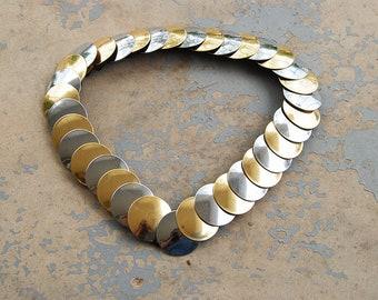 vintage 80s Coin Belt - 1980s Silver and Gold Medallion Elastic Cinch Belt Sz S M