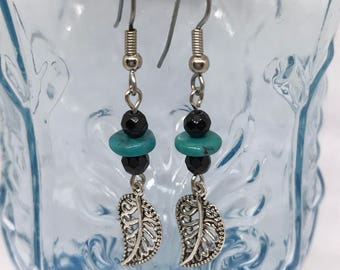 Natural Turquoise and Leaf Earrings