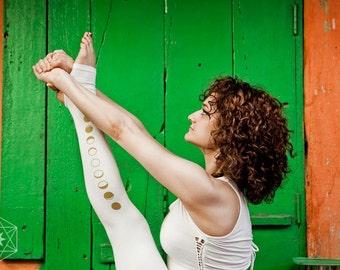 White Moon Leggings - Yoga Leggings, Women Yoga Pants, second skin tights, golden moon phase print.