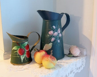 Painted Tins, Jugs, Two Pitchers, Cherries, Roses, Folk Art, Metal, Chippy, Shabby French, Cottage Charm, by mailordervintage on etsy