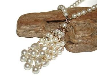 Vintage Pearl Tassel Necklace, Long Beaded Necklace, Vintage Beaded Necklace, Vintage Beaded Jewelry, Tassel Pendant Women, Trending Now