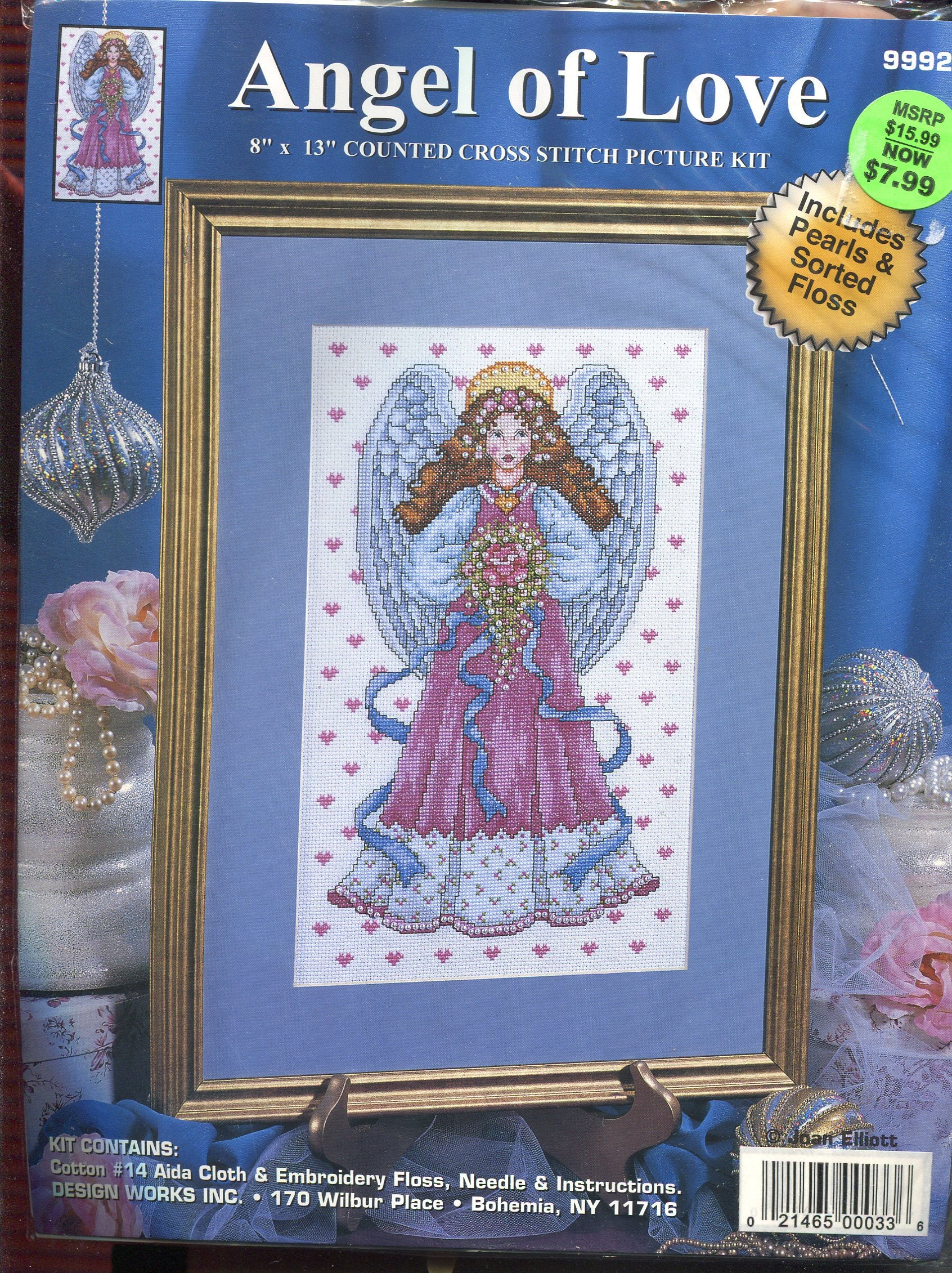 Angel de amor cruz puntada Kit rosa y azul con acentos perla 8 X 13 ...