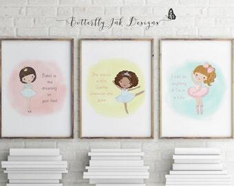 Ballerina Print| Ballerina wall art| Ballerina Wall Print|Ballerina|Triple Pack|Three Ballerina Prints