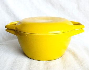Vintage Copco Dutch oven...yellow porcelain coated cast iron pan...Danish Modern...made in Denmark.
