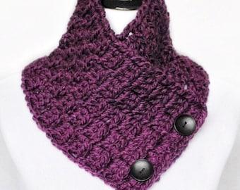 SALE! Purple Button Cowl, Crochet Neck Warmer, Plum Wrap Scarf -  Block Stitch