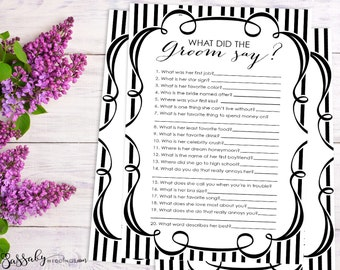 What did the Groom say? - Bridal Shower Game - INSTANT DOWNLOAD - Printable Black & White Wedding Shower Party Game