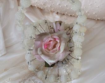 Vintage Beaded Safety Pin Basket - White Clear Beads - Wedding Decor - Flower Girl Basket