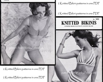 Two Knitted BIKINI Vintage knitted Bikini Patterns PDF 777 from WonkyZebra