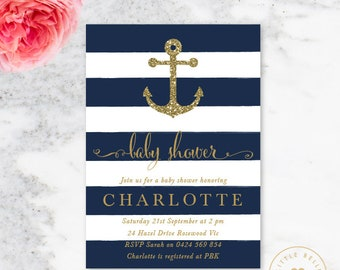 Nautical Baby Shower Invitation / Anchor Baby Shower Invitation / Navy Blue / Baby Boy Shower Invite