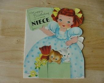Vintage 1950s Birthday Card, Little Girl Blue Dotted Dress, Yellow Ribbons, 3 Kittens, Used, Paper Ephemera, Scrapbook, Paper Lot 37