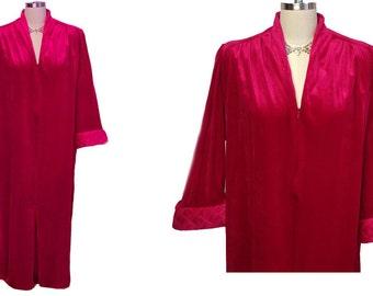 Vintage Tammy Velour Robe Zip Up Robe Ravishing Ruby robe designer robe vintage robe 70s robe red robe winter robe panne velvet robe