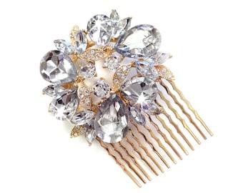 Comb - Gold Wreath Hair Comb - Vintage Style Hair Piece - Bridal Comb - Wedding Hair Comb - Rhinestone Brooch - Wedding Hairpiece