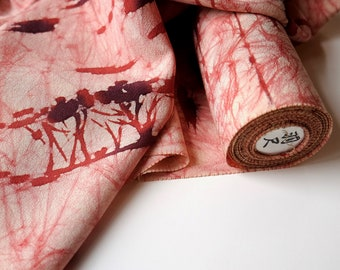 Vintage Batik Silk Kimono Fabric unused bolt by the yard Pink, Rust Red on Cream Abstract Tribal Tree Batik Pattern 100% silk OFF the bolt