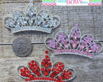 3 Crown Tiara Metal RHINESTONE Flatback Embellishments - Clear, Pink & Red