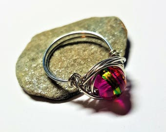 Handmade Nest Ring Wire Wrapped Pink Blown Glass Bead