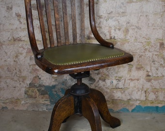 Antique vintage oak office swivel captains chair