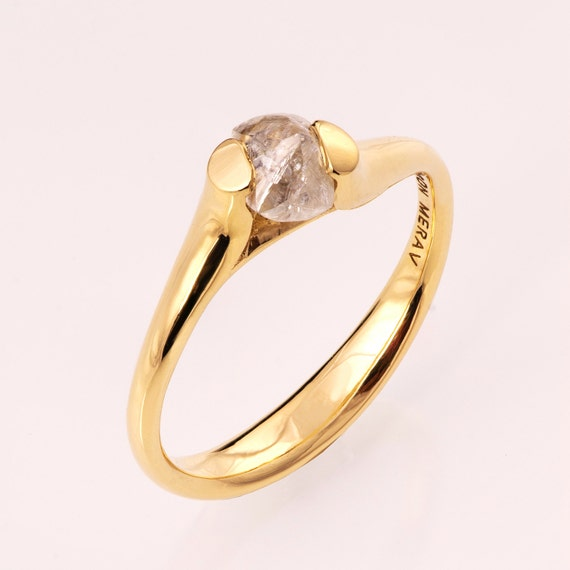 Raw Diamond Engagement Ring 14K Gold Tension Set Engagement