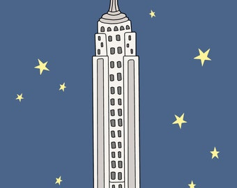 Empire State Building Print, Fine Art Print by Kate Durkin, Nursery Alphabet Art