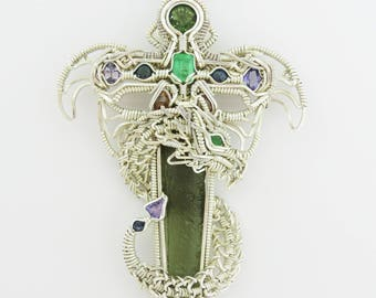 Dragon Sword, Dagger, Wire Wrap Pendant, moldavite, emerald, sapphire, tanzanite