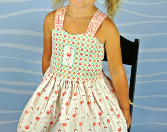 Flamingo Peekaboo Tie Back  Dress ( 2T,  3T, 4T, 5, 6, 7, 8, 10)