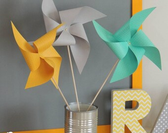 Set of 10 pinwheels wind color mint, yellow, gray 15cm
