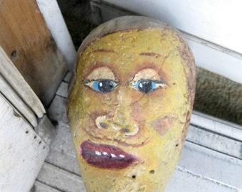Stone Doorstop, Painted Stone Doorstop,  Painted Stone Ornament,  Rock Art, Whimsical Stone, Beach Decor, Kitsch, by gardenstones on etsy