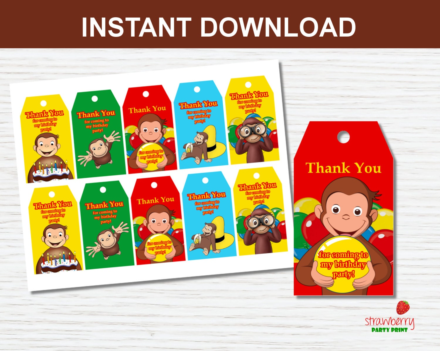 Curious George Favor Tags Thank You Tags Party Favors Gift