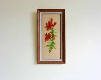Wood Framed Embroidered Artwork of Lily Flowers