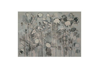 Large Original nature monoprint with collage by Stef Mitchell Flowers from a cottage garden Duck egg blue dusky & grey FREE SHIPPING