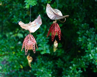 Hanging copper garden bell in dark red color by Bellflower Creations.  Simple, unusual, and charming.