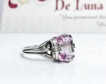 3.4 ct Light Pink Kunzite Ring in Sterling Silver  / Natural Emerald Cut Pink Diamond Style Engagement Ring / De Luna Gems / Free Shipping!